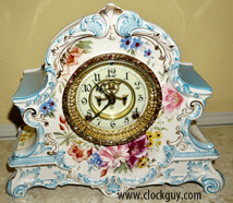 "Ansonia Royal Bonn ""La Nord"" in Lt Blue ~ Antique Clocks Guy"
