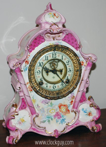 Ansonia Royal Bonn No. 502 in Pink With Exposed Escapement - Antique Clocks Guy