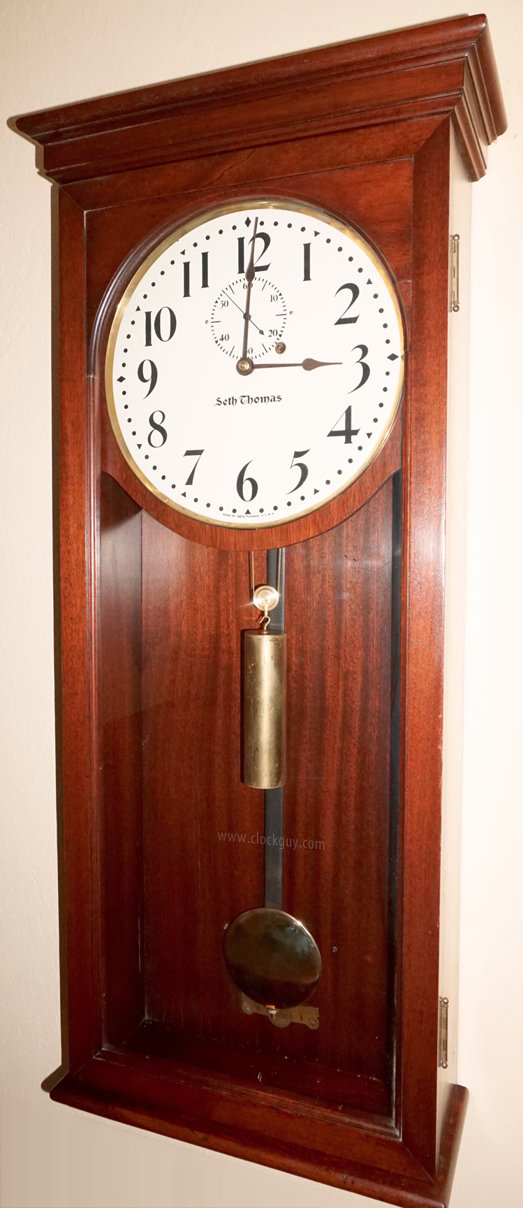 Antique clocks guy we bring antique clocks collectors and buyers seth thomas regulator no 4 in mahogany antique clocks guy amipublicfo Choice Image