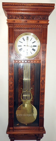 Waterbury Regulator No. 7 in Burled Walnut - Antique Clocks Guy