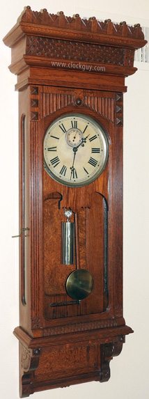 Gilbert Regulator No. 10 in Oak with Burled Panels ~ Antique Clocks Guy