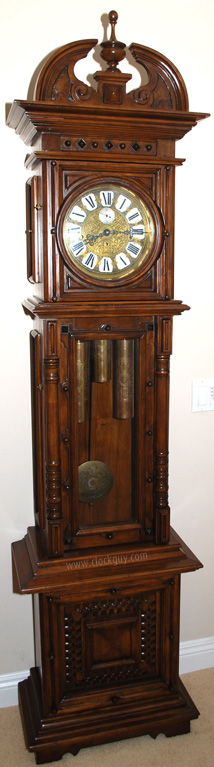 "Gazo Rancho Bernardo in Alder with Walnut Stain and Swan-Neck Pediment commonly seen on Gazo ""Bonita"" models ~ Antique Clocks Guy"