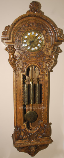 "Gazo ""San Miguel"" in Oak with Grape Leaf Dial-Surround ~ Antique Clocks Guy"