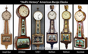 "Click to See Six Examples of ""Hull's Victory"" American Banjo Clocks ~ Antique Clocks Guy"